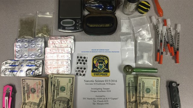 Troopers seized these items during a motor vehicle stop. (CT State Police)