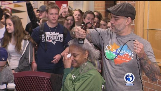 Dozens shave heads for childhood cancer research. (WFSB)