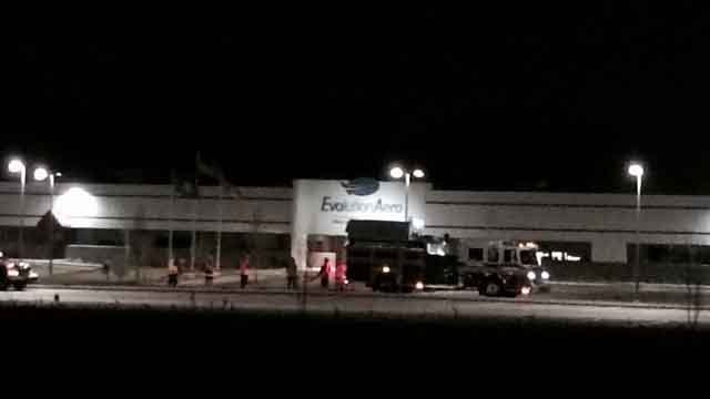 The fire was reported at a the Evolution Aero buildingat 435 Sullivan Ave., at about 6:30 p.m. (WFSB)