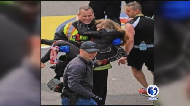 Shrapnel went into McGrath's leg, but a first responder used a t-shirt as a tourniquet and she was carried to safety.