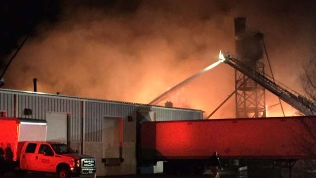Firefighters battling flames at the Yankee Castings company in Enfield on Tuesday night, after fighting a smaller fire earlier in the day. (WFSB)