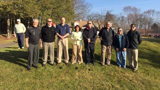 New Britain Mayor Erin Stewart took the ceremonious first tee swing at the Stanley Golf Course on Wednesday. (@stewartfornb photo)