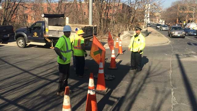 A water main break closed Riverside Street in Waterbury on Wednesday afternoon. (Waterbury officials)