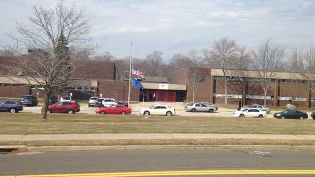 Platt Tech was evacuated on Thursday morning due to a bomb threat. (WFSB photo)