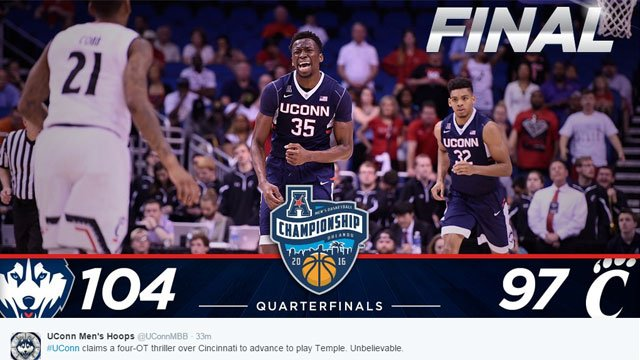 #UConn claims a four-OT thriller over Cincinnati to advance to play Temple. Unbelievable. (@UConnMBB)