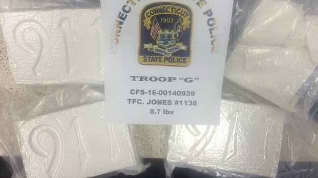 State police released photos of the more than $250,000 worth of cocaine found during traffic stop. (CT State Police)