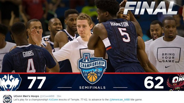 """UConn men's basketball tweets """"Let's play for a championship! #UConn knocks of Temple, 77-62, to advance to the @American_MBB title game."""" (@UConnMBB)"""