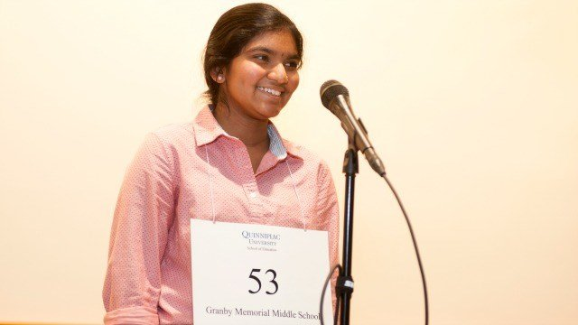 Dwaritha Ramesh won the Connecticut spelling bee on Saturday. (Quinnipiac University)