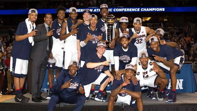 """UConn men's Basketball tweeted """"This feels right. Conference champs and headed to the Big Dance! #BleedBlue """" (@UConnMBB)"""