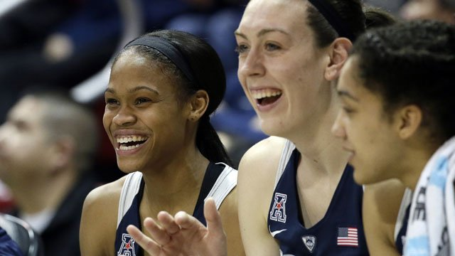 In this Jan. 23, 2016, file photo, Connecticut guard Moriah Jefferson, left, and forward Breanna Stewart (30) cheer from the bench during the second half of an NCAA college basketball game against SMU in Dallas. (AP Photo/LM Otero, File)