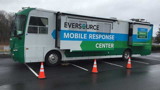 Eversource's Mobile Response Center was out in Monroe due to a gas outage on Tuesday. (WFSB photo)