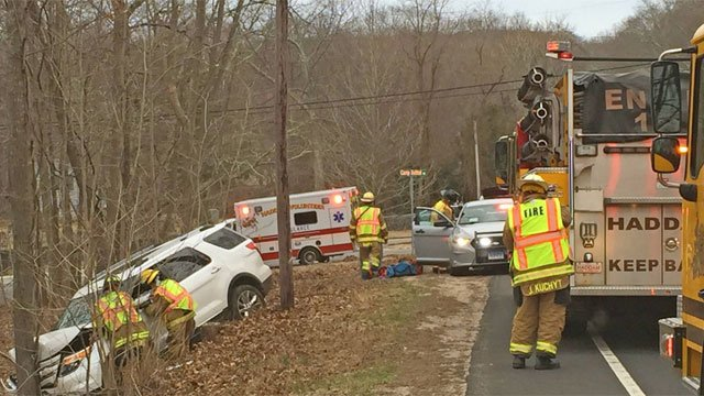 Haddam firefighters helped woman after crash. (Haddam Volunteer Fire Company)