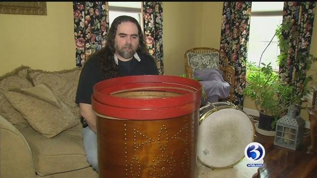 Collection of drums was recently stolen from a North Branford man. (WFSB)
