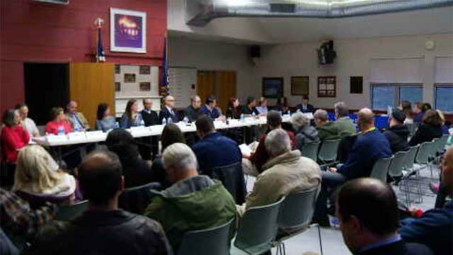 The community forum was held at the Haddam Volunteer Fire Department and was hosted by State Sen. Art Linares. (WFSB)