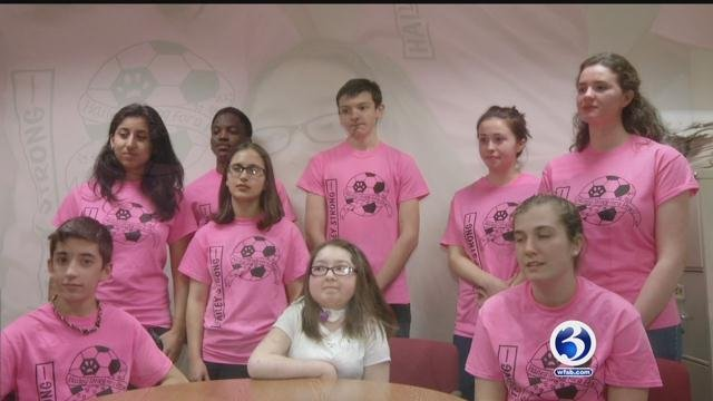 Hailey Giguere was surrounded by friends at school wearing T-shirts of support on Wednesday. (WFSB)