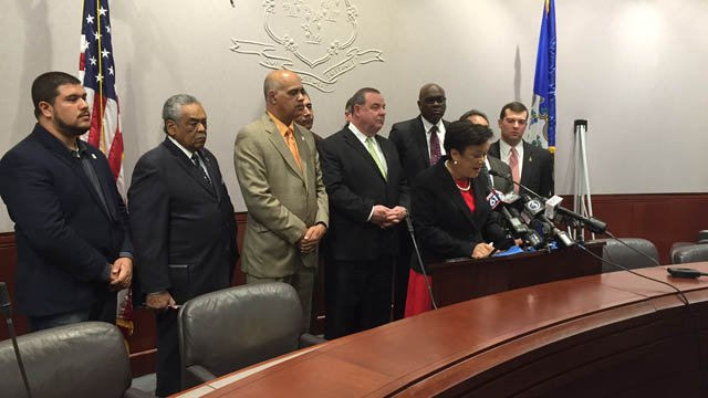 On Friday, mayors from four Connecticut cities met in Hartford to present a case for preserving the state's municipal aid programs. (WFSB)
