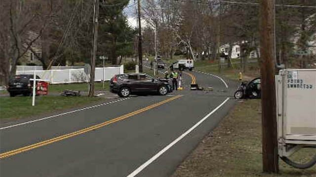 A serious crash shut down Route 74 in South Windsor on Friday. (WFSB)