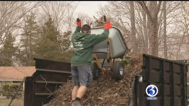 Landscapers are taking a break from spring to prepare for snow. (WFSB)