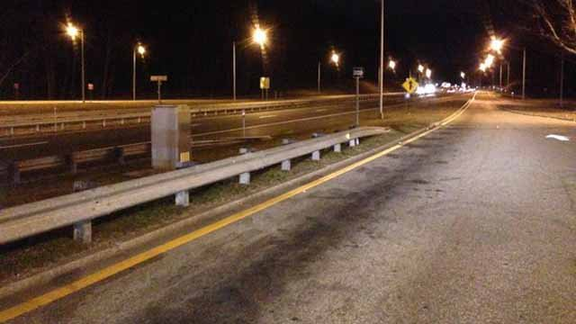 Roads were dry on I-395 in southeastern CT on Sunday night but that wasn't expected to last too long. (WFSB)