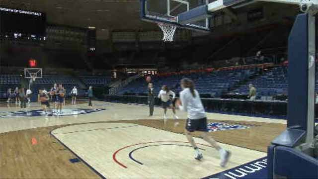 The UConn women warmed up Monday for their next round of the NCAA tournament. (WFSB)