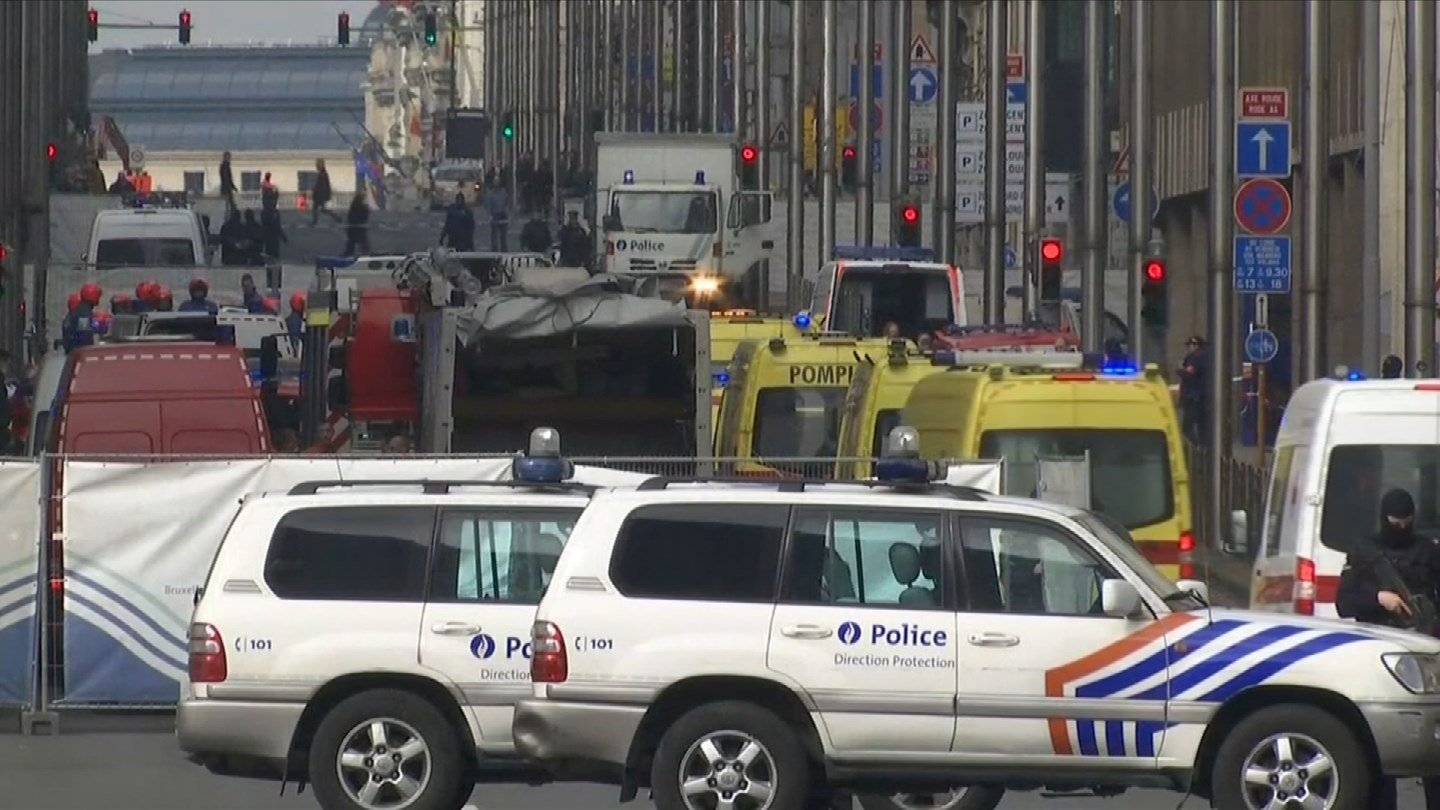 Explosions rocked the Brussels Airport and train station Tuesday morning. (CBS photo)