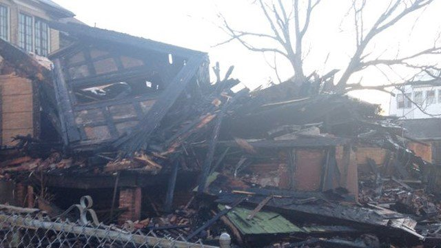 What's left of a vacant structure after a fire on Magnolia Street in Hartford. (WFSB photo)