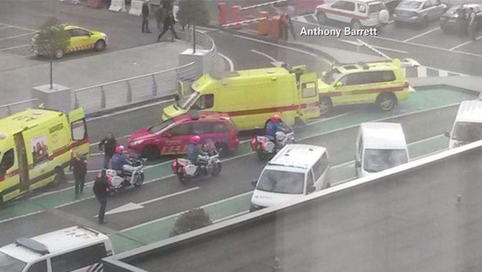 Emergency crews responded to deadly explosions at the Brussels, Belgium, airport and a subway terminal Tuesday. (Source: Anthony Barrett/CNN)