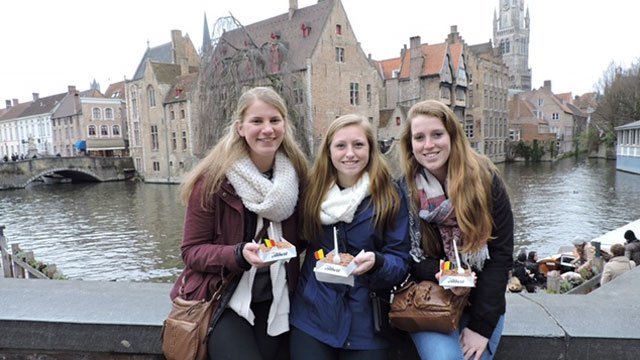 QU students Lauren Cleary, 19, of Abington, Mass., Monica Hall, 19, of Sutton, Mass., and Cate Duffy, 19, of Natick, Mass. are in Brussels. (Quinnipiac University)