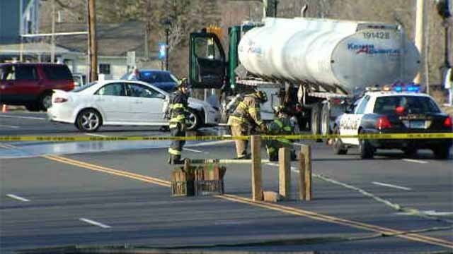 Police said 55 gallons of fuel spilled, causing a section of the road to close. (WFSB)