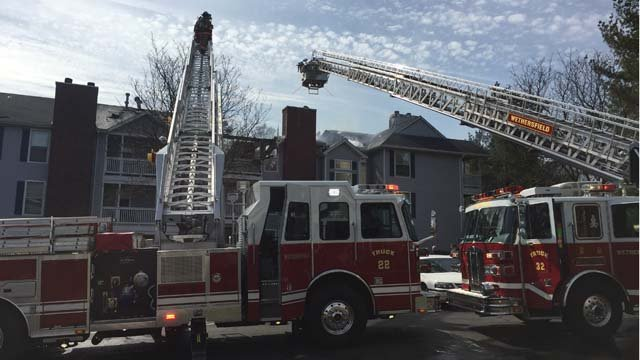 The fire was reported at the Village at Wethersfield apartments late Thursday morning. (WFSB photo)