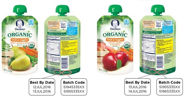 Gerber is recalling two batches of its Organic 2nd Foods Pouches due to a packaging defect. (FDA.gov photo)