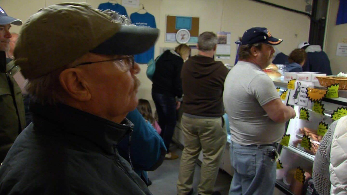 Some people waited an hour for kielbasa at Martin Rosol's in New Britain. (WFSB photo)