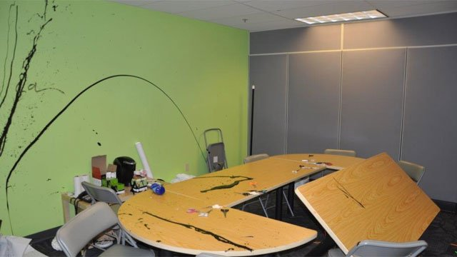 Hartford police are investigating vandalism at the offices at Hartford Stage. (Hartford Police Department)