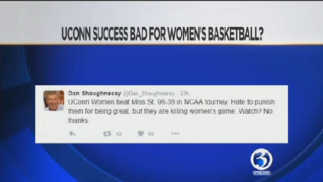 This tweet by Boston Globe Columnist Dan Shaugnessy about the UConn Women. (WFSB)