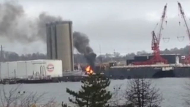 This fire was reported near New Haven Harbor (@Stretchct)