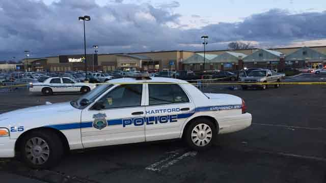 Police responded to Walmart in Hartford on Monday evening after a reported shooting. (WFSB)