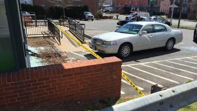 A motor vehicle hit a bank in New Britain on Tuesday morning. (WFSB)