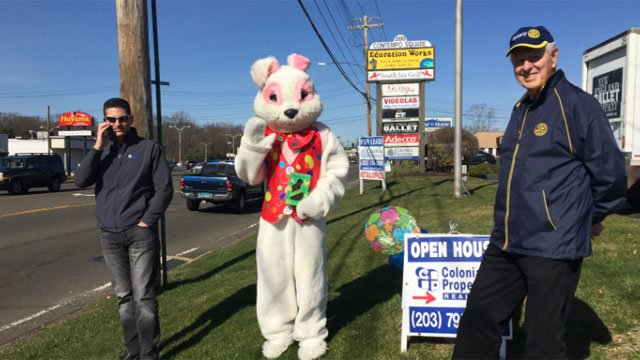 The Easter Bunny was handing out candy at Colonial Properties on Wednesday. (WFSB)