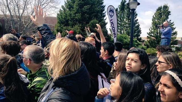 The crowds sending off UConn. (WFSB photo)
