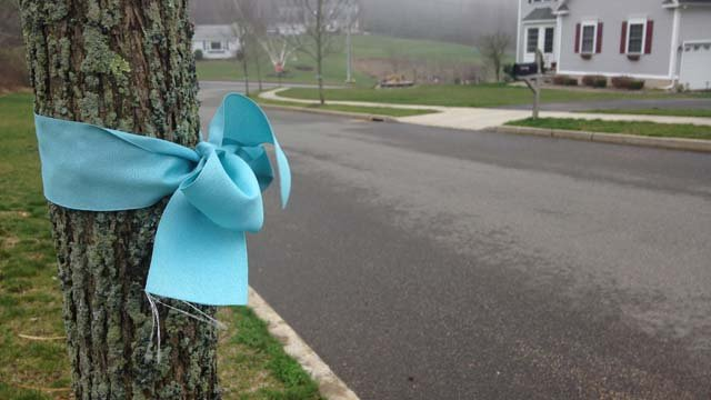Neighbors put up ribbons in memory of Barbara Eddinger, who was killed during a hit-and-run. (WFSB photo)