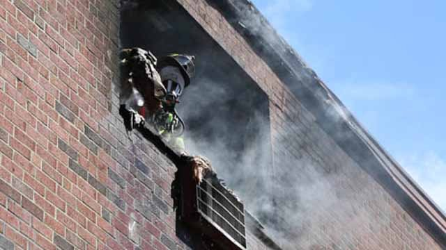 A fire broke out at an apartment building on Huntington Street on Sunday. (Patrick Dooley)