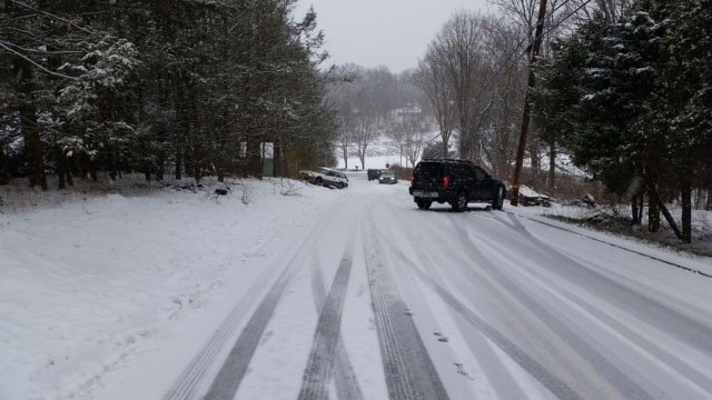 Spin outs were reported all over the state, including on Hatch Hill in Vernon. (Donna Cardiero/iWitness photo)