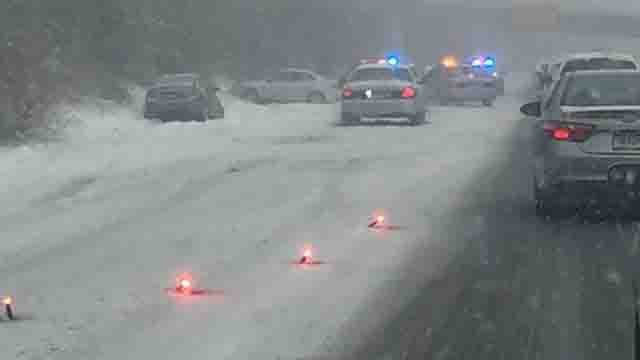 A crash in the area of Route 9 south at the I-91 merge was causing delays on Monday evening (WFSB)