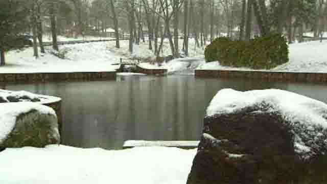 Snow blanketed Hubbard Park in Meriden on Monday afternoon. (WFSB)