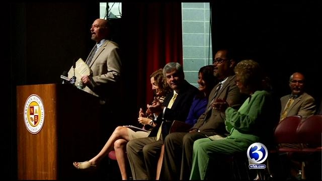 Kelt Cooper during a 2013 school employee rally in New Britain. (WFSB file photo)