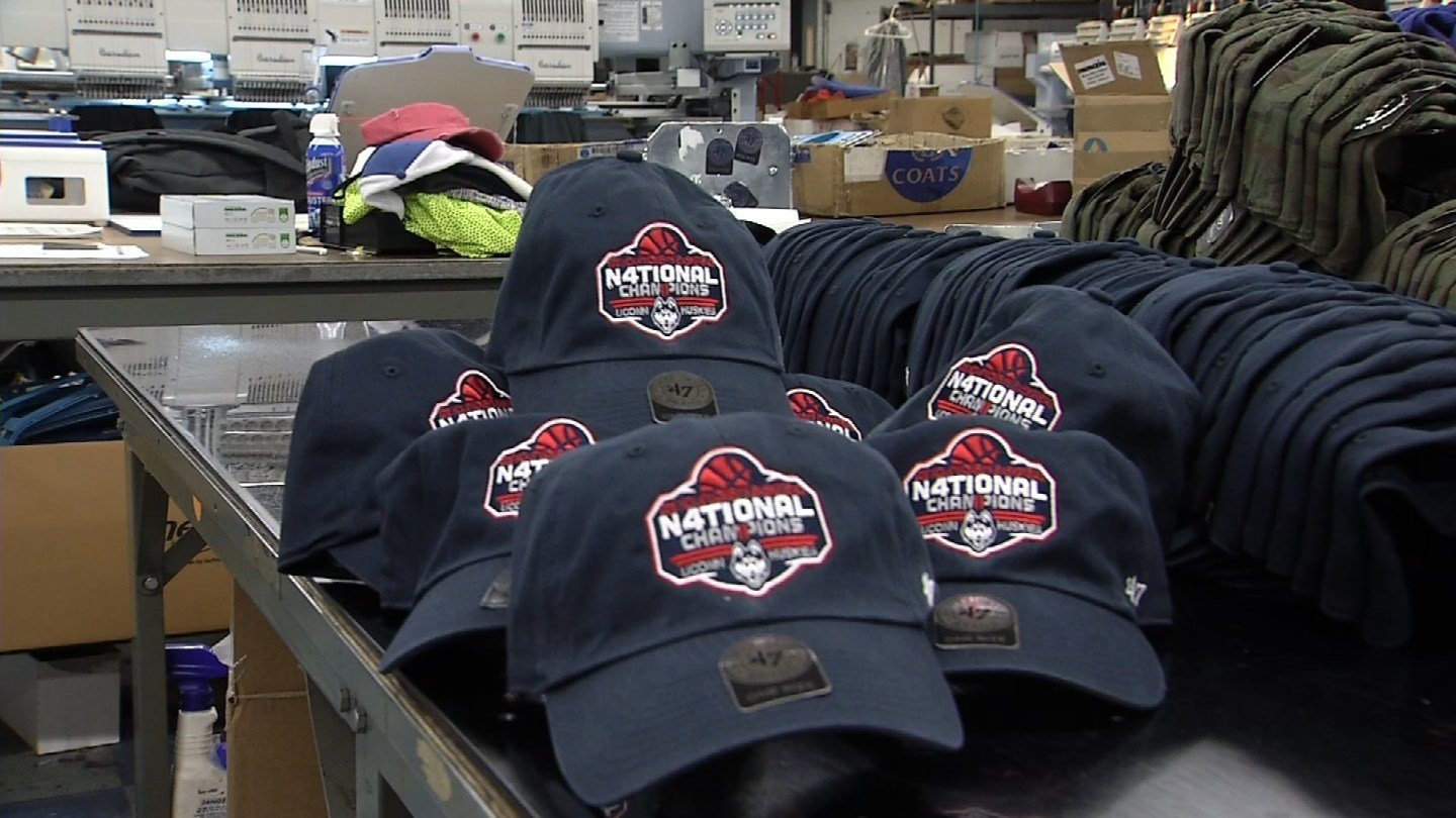 Gima Sport has been printing hats since 6 a.m. on Wednesday. (WFSB photo)