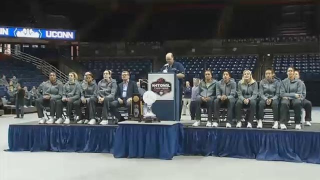 The UConn Huskies arrived home on Wednesday and attended a victory rally at UConn. (WFSB)