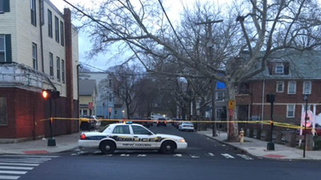 A man was found with a gunshot wound to the back of the head on May Street in New Haven. (WFSB photo)