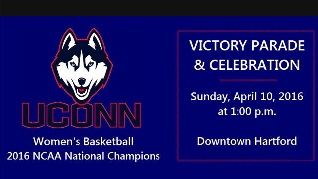 A victory parade and rally will be held for University of Connecticut Women's Basketball Team on Sunday. (@GovMalloyOffice)