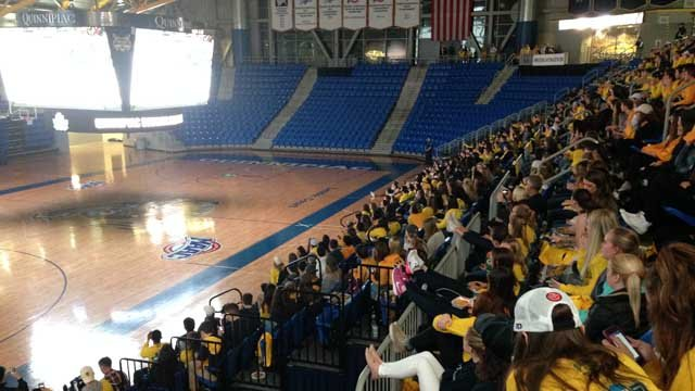 Students gather for the watch party at Quinnipiac on Thursday. (WFSB)